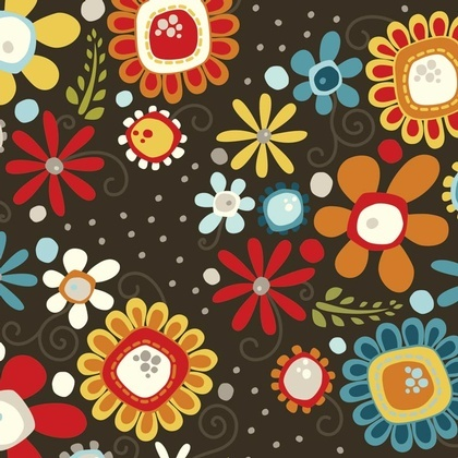 Fabric - Daisy Bouquet Charcoal