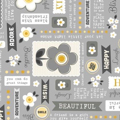 Fabric - Daisy Wordplay Sunshine