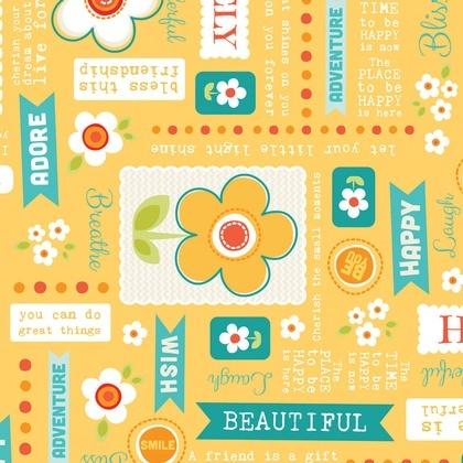Fabric - Daisy Wordplay Juicy