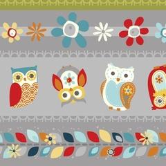Fabric - Owl Tickertape Charcoal