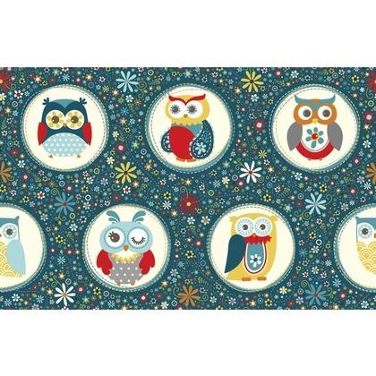 Fabric - Owl Polka Dot Navy
