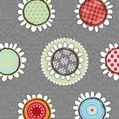 Fabric-Funky Flowers Gray