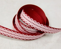 Ribbon - Lacy Scallop Red