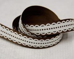 Ribbon - Lacy Scallop Brown
