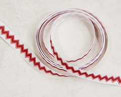 Ribbon - Chevron Stitch Red