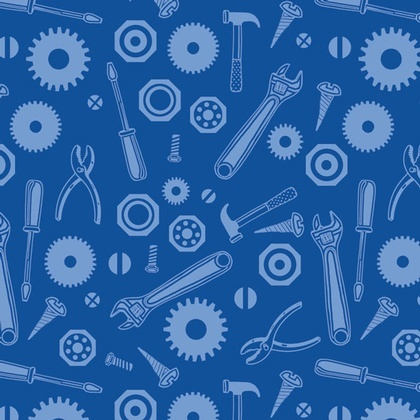 Fabric - Tool Jumble Blue