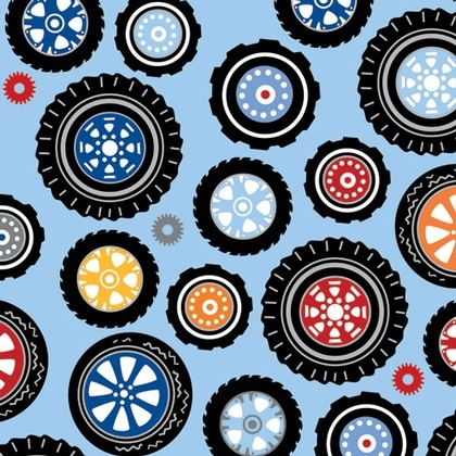Fabric - Polka Dot Wheels Blue