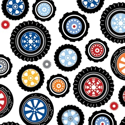 Fabric - Polka Dot Wheels White