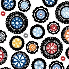 Fabric - Polka Dot Wheels White