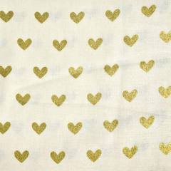 Gold Hearts Fabric