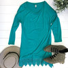 Lace trime tunic teal adornit