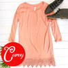Lace trim tunic peach adornit curvy