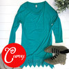 Lace trime tunic teal adornit curvy