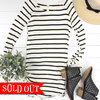 Black   white striped tunic adornit so
