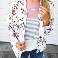 White Floral Bomber Jacket
