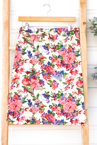 Vintage Rose Skirt - White