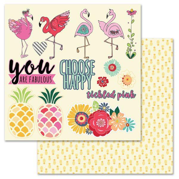 Flamingo Fussy Cut 12x12