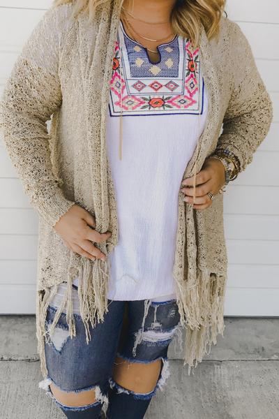 Waverly Knit Cardi - Taupe