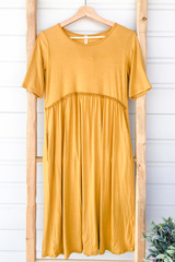 Serena Babydoll Dress - Mustard