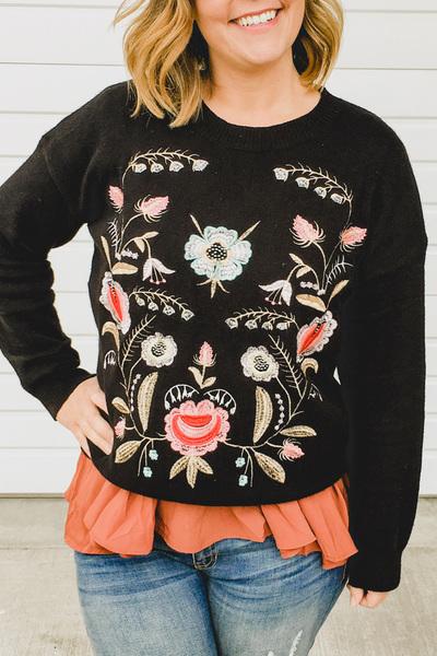 Elsie Embroidered Pullover