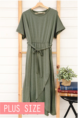 Faux Wrap Dress - Olive
