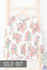 White Floral Pullover