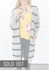 Striped Thick Knit Cardigan