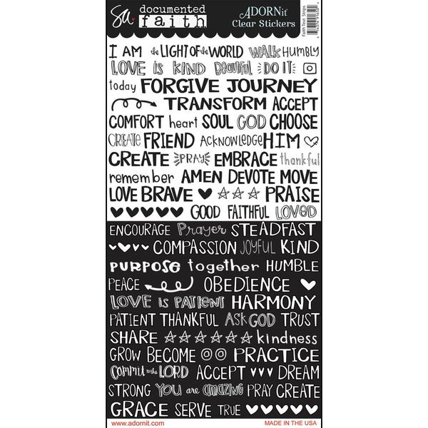 Faith Text Strips Clear Sticker