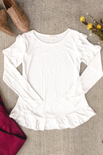 Flirty Long Sleeve - Creme'
