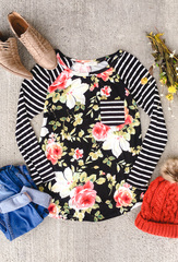 Floral & Stripe Top