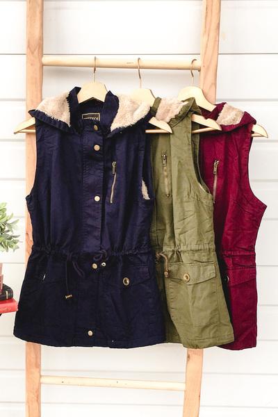 Fur Lined Cargo Vest