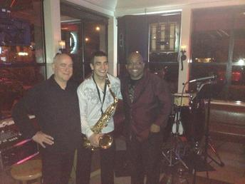 With guitarist John Raymond and percussionist Akim Finch at Pogacha of Issaquah