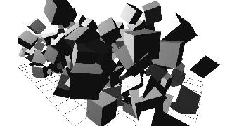 Cubes moving randomly