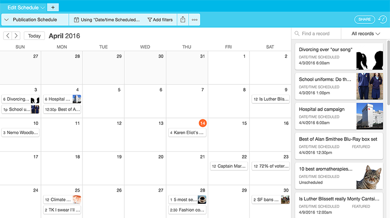 Calendar Overview : Using airtable to manage editorial content