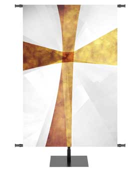 Liturgical Christian Banner White with Gold Cross