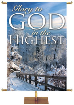 Winter Scene Church Banner Glory to God in the Highest