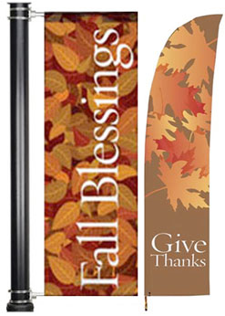 Fall & Thanksgiving Light Pole and Lawn Feather Banners