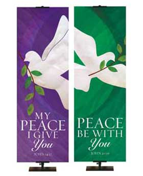 Peace in Christ Church Banners with the White Dove Symbol