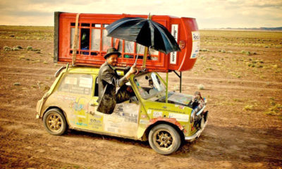 Mini cooper race car in Mongol Rally