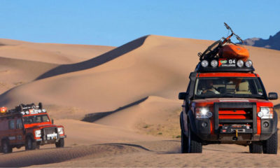 Two Land Rovers in Desert during G4 Challenge