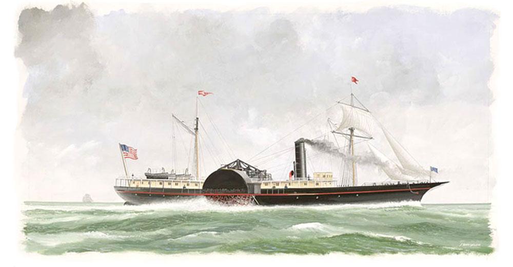 Portrait of S.S. Republic treasure ship at sea
