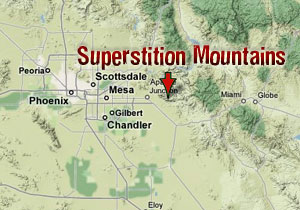 Google Map of the Superstition Mountains, Arizona