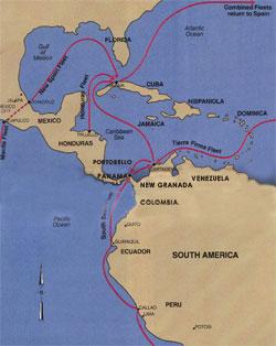 map of Spanish Treasure Routes