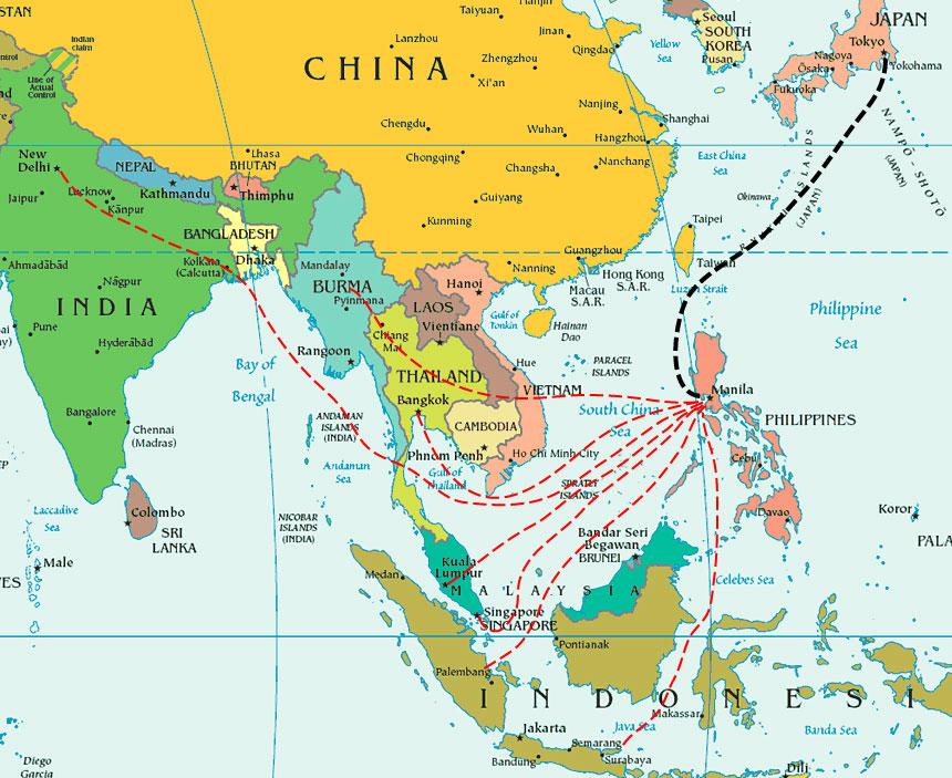 Yamashitas gold billion dollar treasure still waiting to be found map of yamashitas plunder route gumiabroncs Choice Image