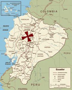 Map of Ecuador with Treasure location