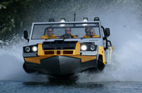 Humdinga amphibious all terrain vehicle painted as a rescue vehicle