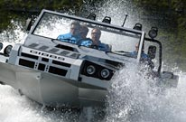 Humdinga amphibious 4x4 vehicle on the water