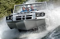 humdinga amphibious off road vehicle on the water
