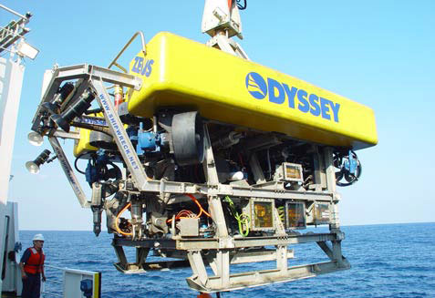 Zeus Rov remotely operated vehicle on board the Odyssey Explorer