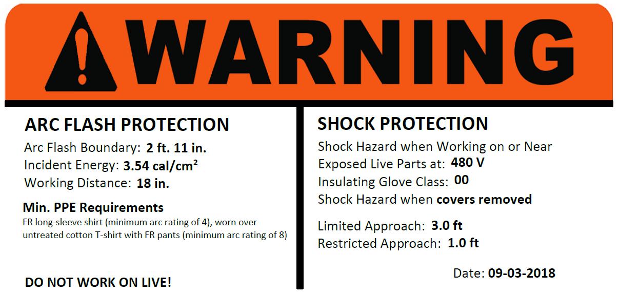 arc flash warning Label sticker